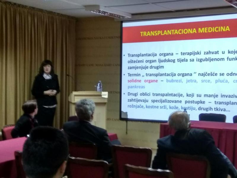 "Scientific tribune: ""Kidney Transplantation Program in Montenegro"" held, lecturer Prof. Dr. Marina Ratković"